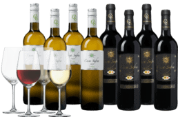 Wijnpakket Casa Safra rood en wit 8 flessen + 4 glazen