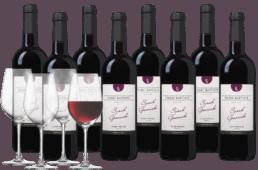 Wijnpakket Pierre Baptiste Syrah - Grenache 8 flessen + 4 glazen